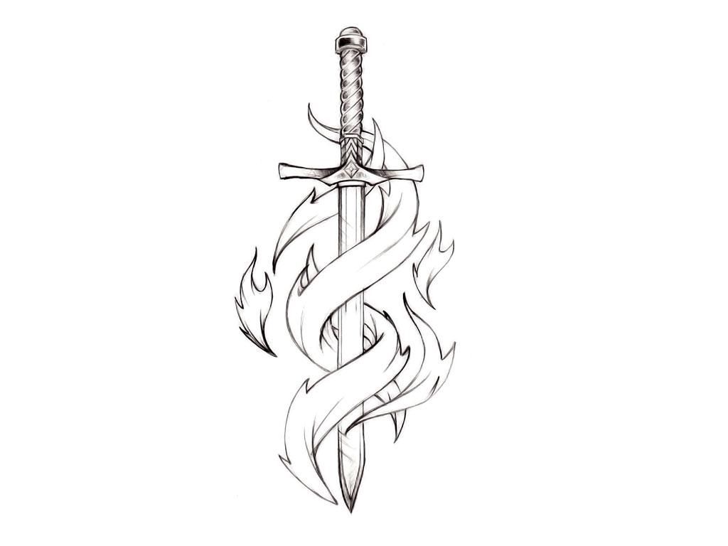 Тату меч на руке
