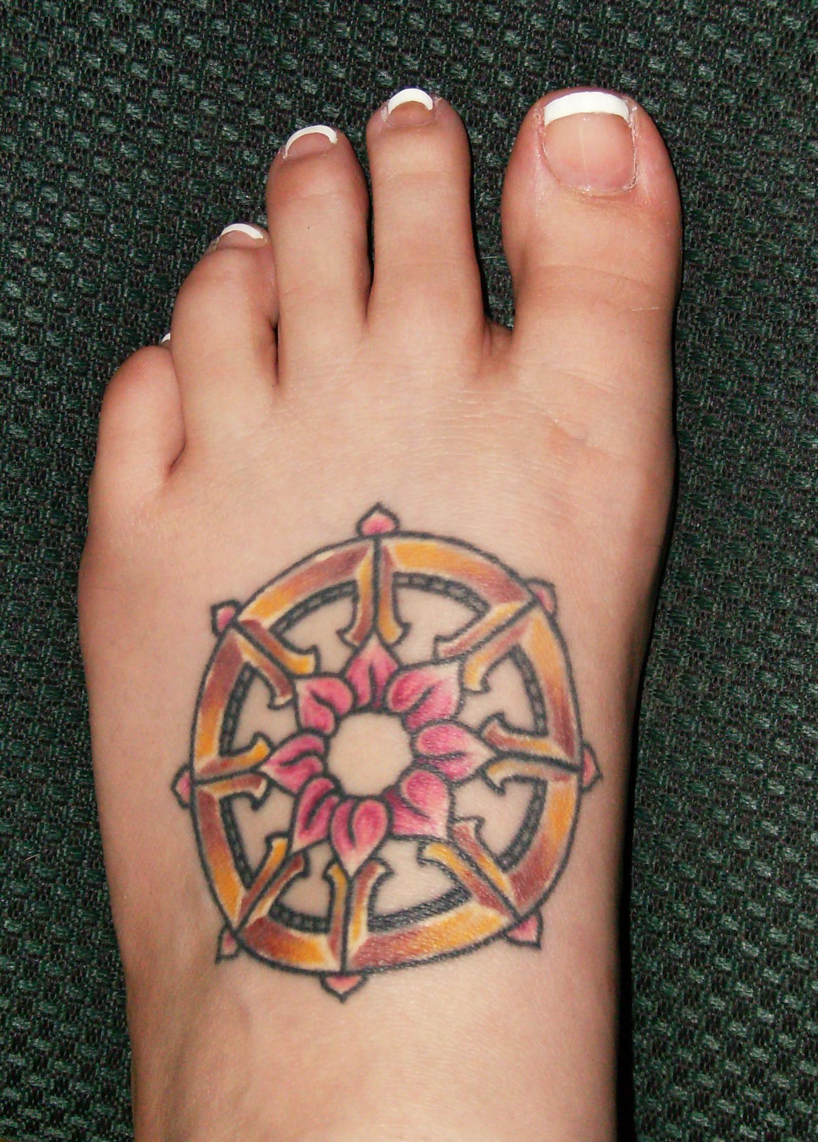 Buddhist wheel tattoos