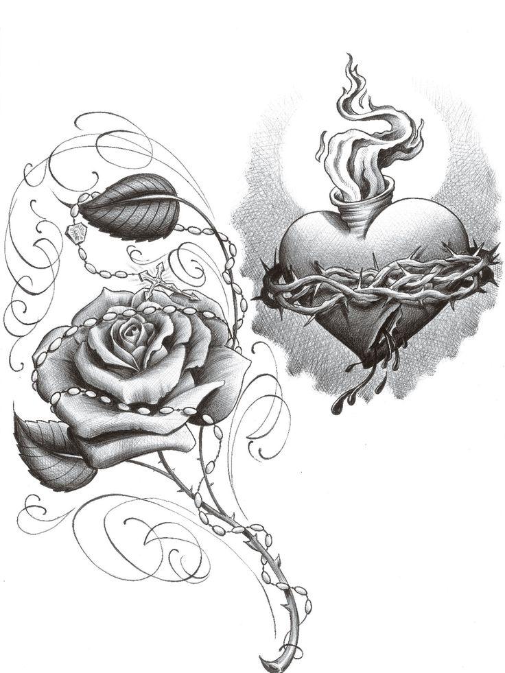 Тату сердце с розой эскизы