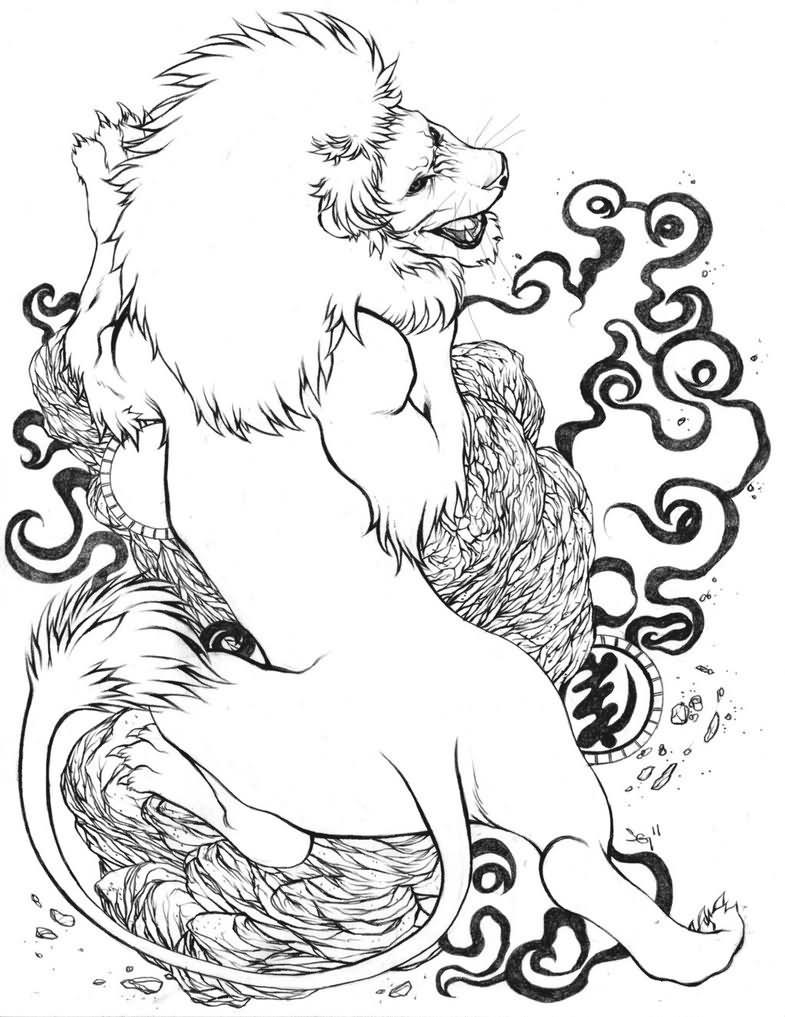 Fighting lion tattoo