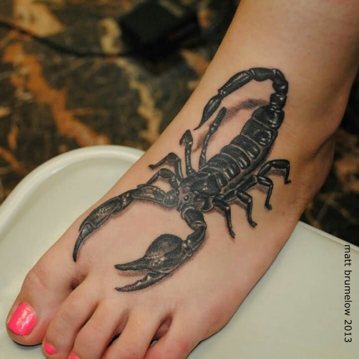 Тату скорпион на ноге для девушек фото