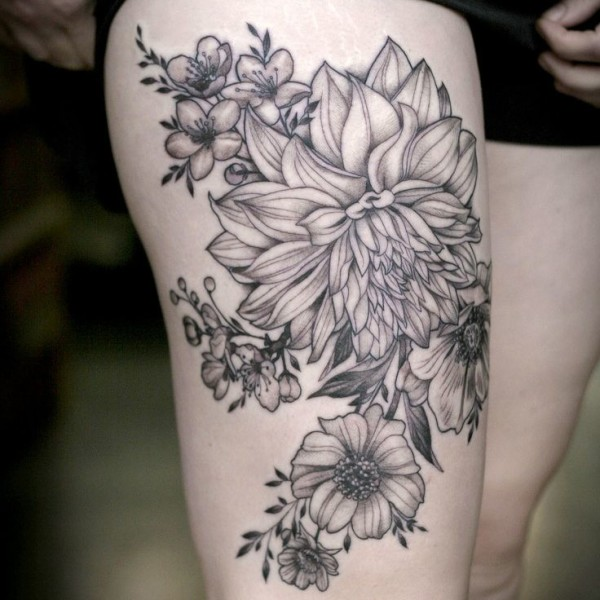Black Ink Fl Tattoo Design For Thigh