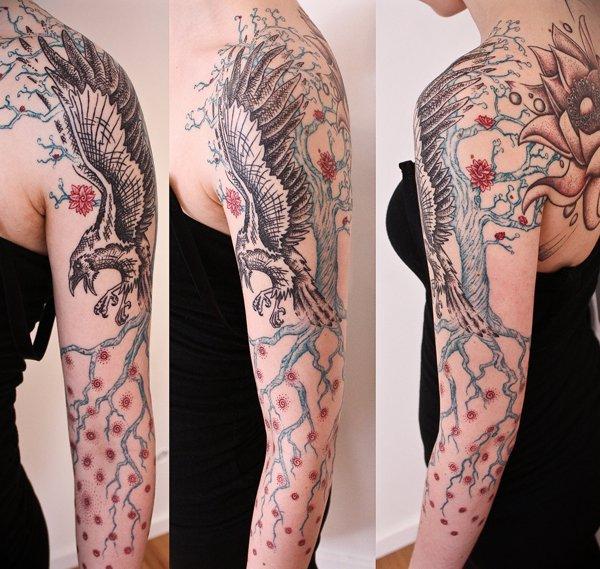 Raven tattoo sleeve