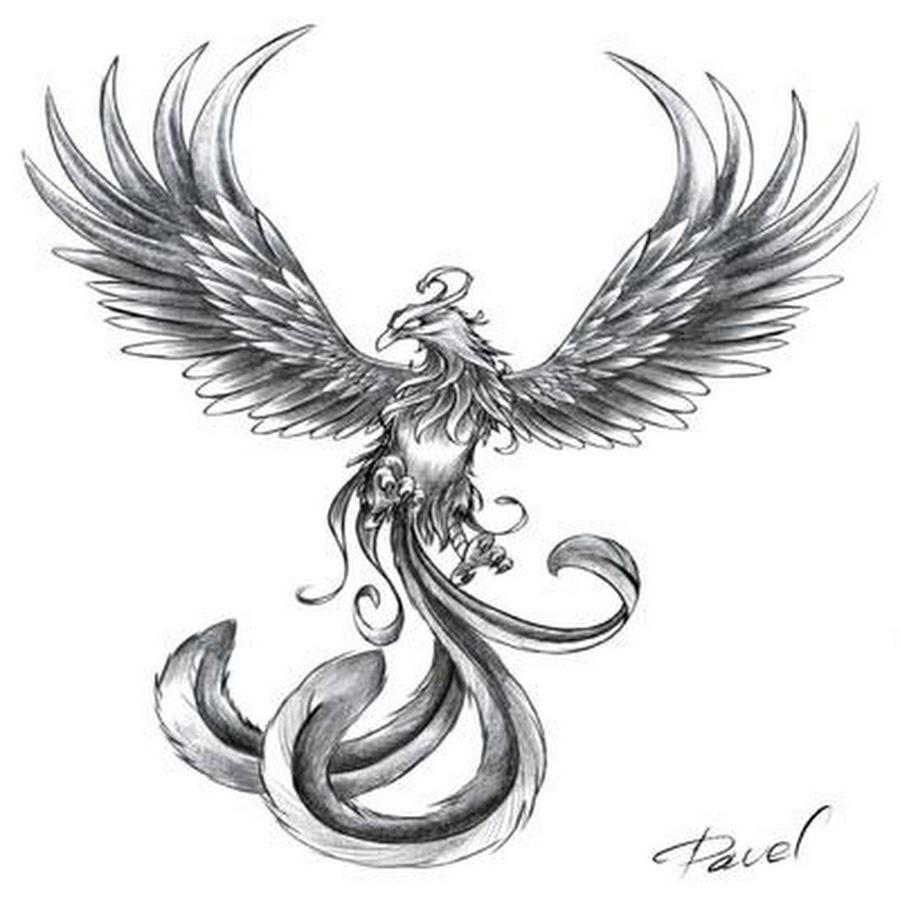 Эскизы татуировок феникса для девушек
