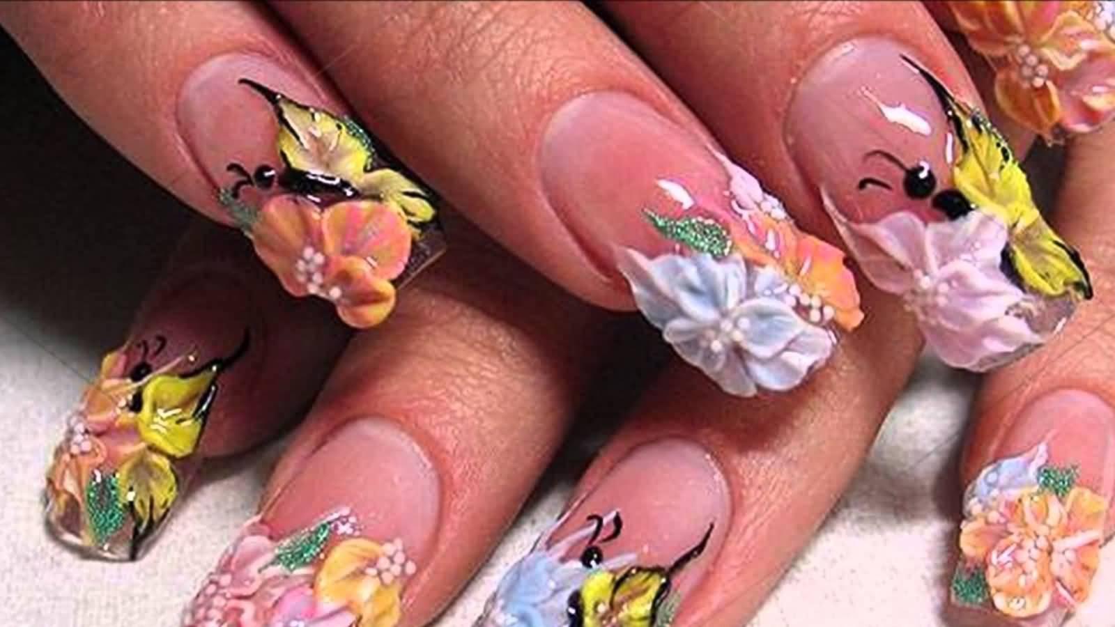 Фото дизайна ногтей роспись лепка