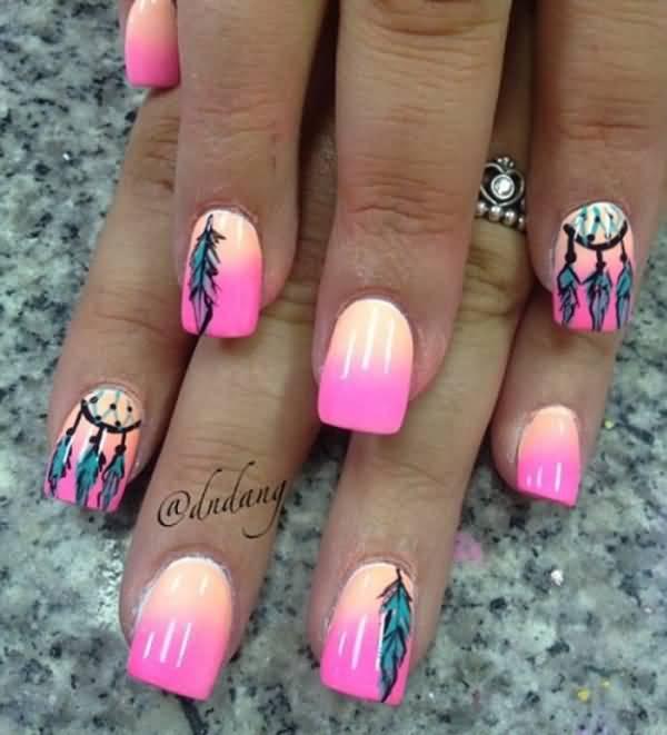 Дизайн на ногтях перья