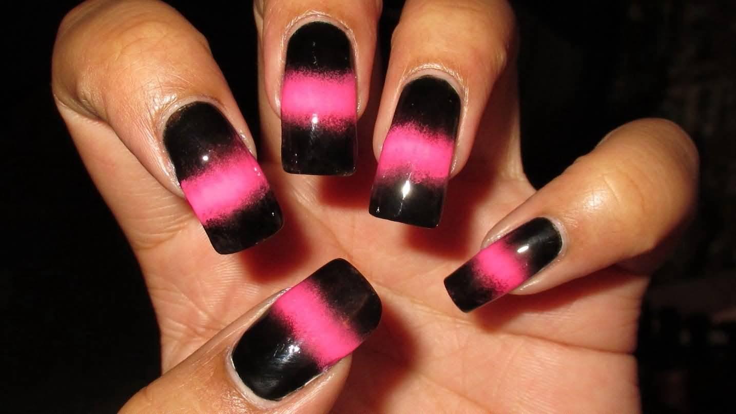 Маникюр черно розовый фото