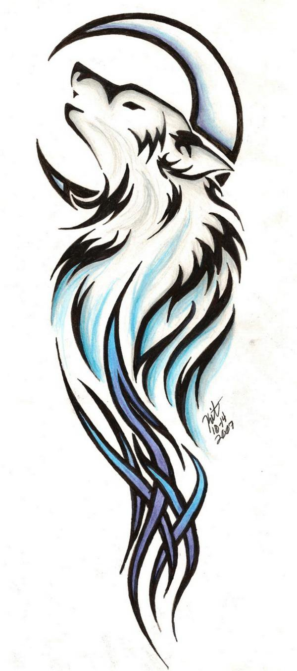 Awesome Wolf With Half Moon And Tribal Colorful Design Tattoo Stencil By Reighmiyuki