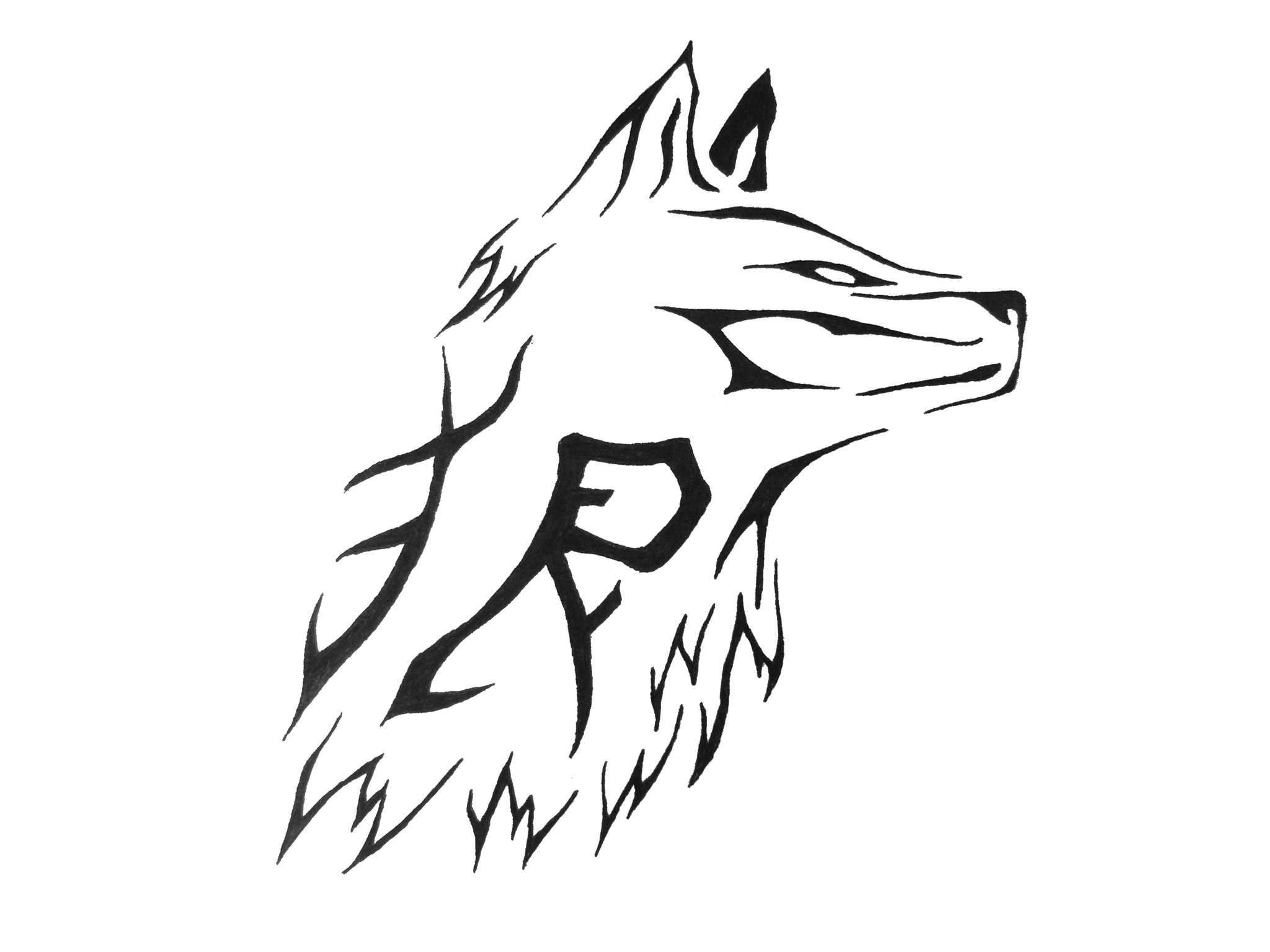 Simple Tribal Wolf Face Tattoo Design