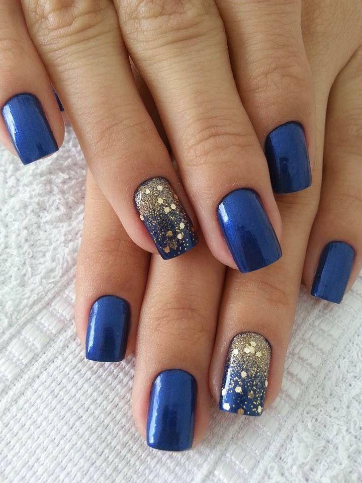 Фото ногти синий цвет