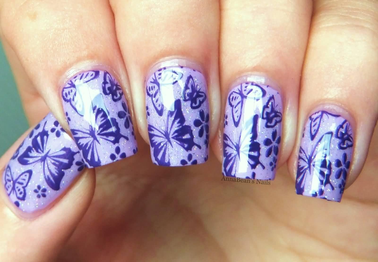 Шилак бабочки на ногтях фото