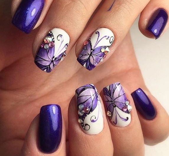 Purple and silver french nails photo