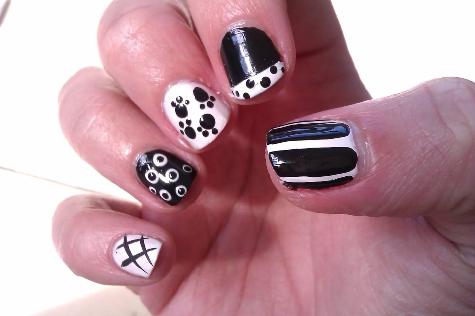 Фото черных рисунков на ногтях