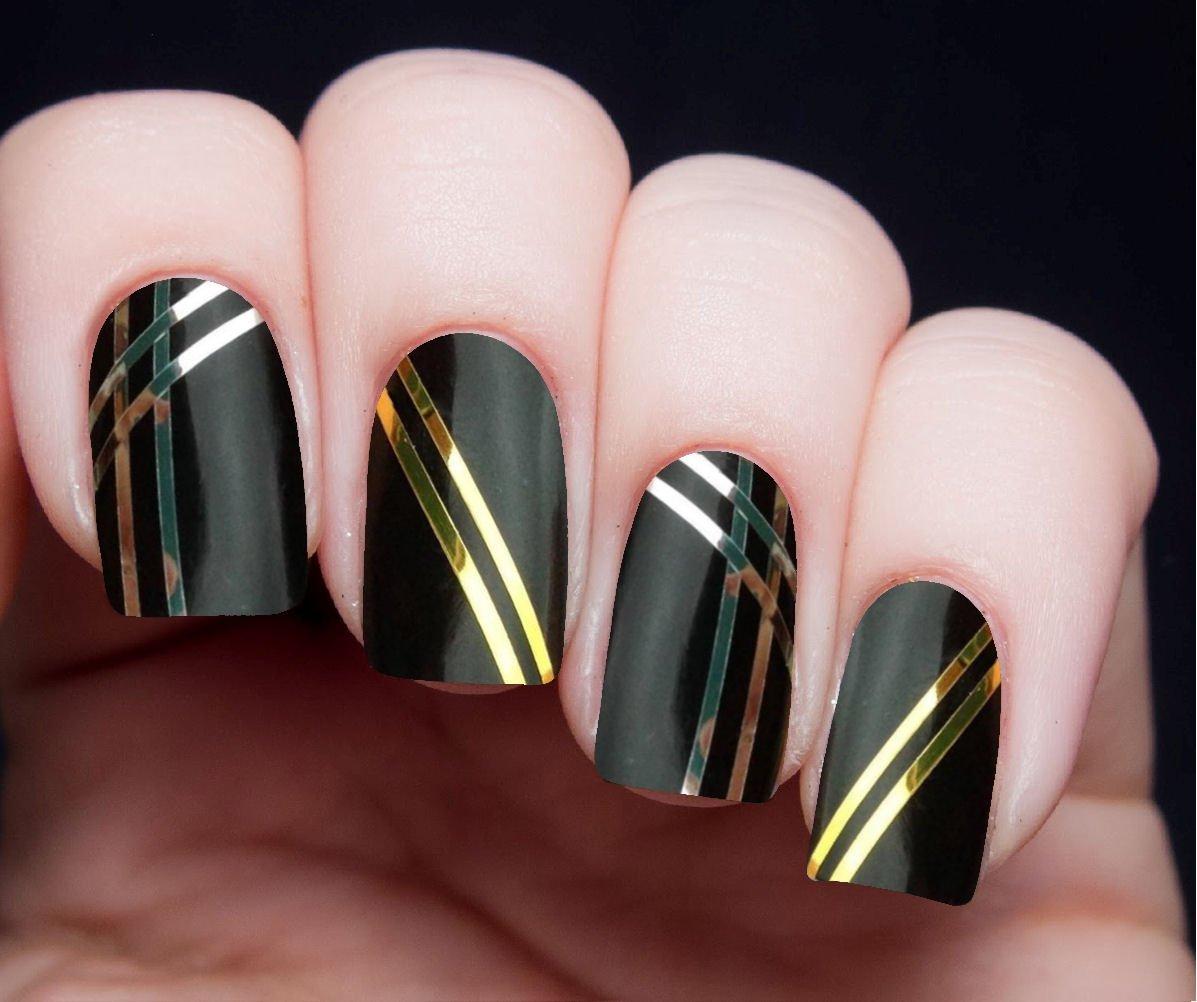 Маникюр с лентами для ногтей фото
