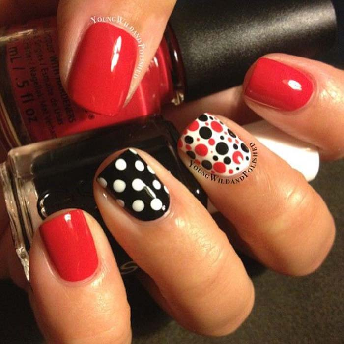Дизайн ногтей фото красно черный