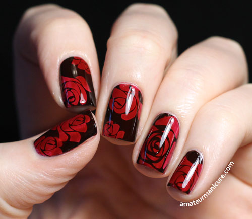 Рисунки на красных ногтях черным дизайн