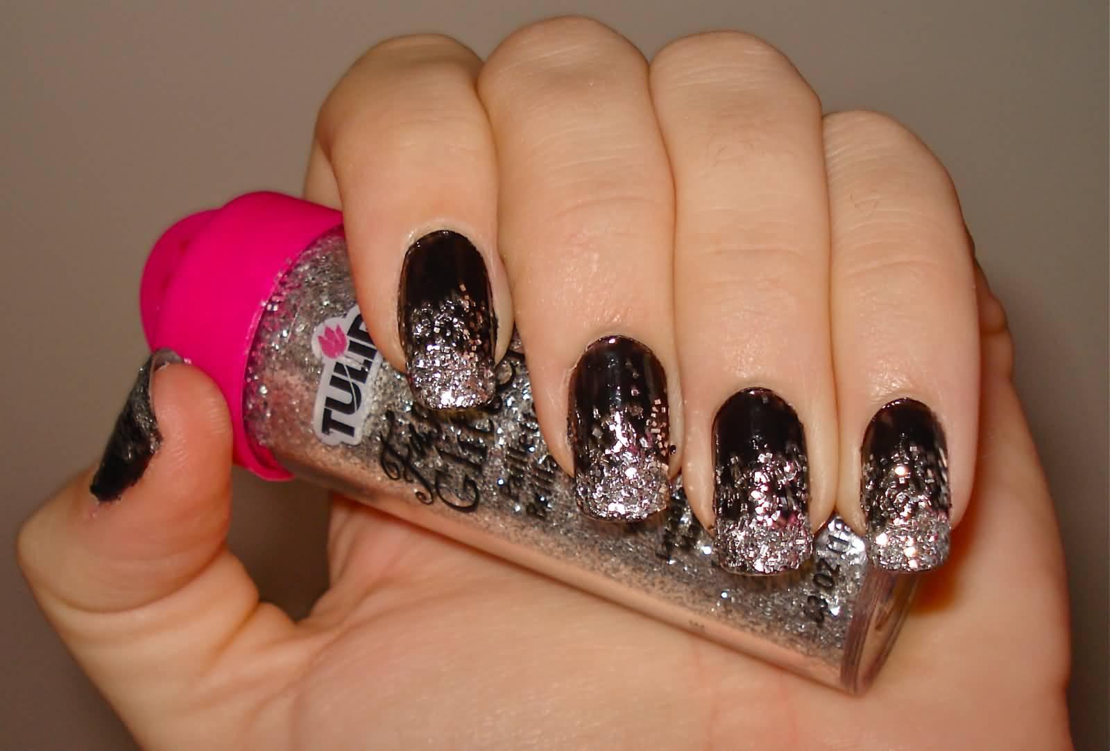 Фото и видео дизайна ногтей с блестками на гелевых 77