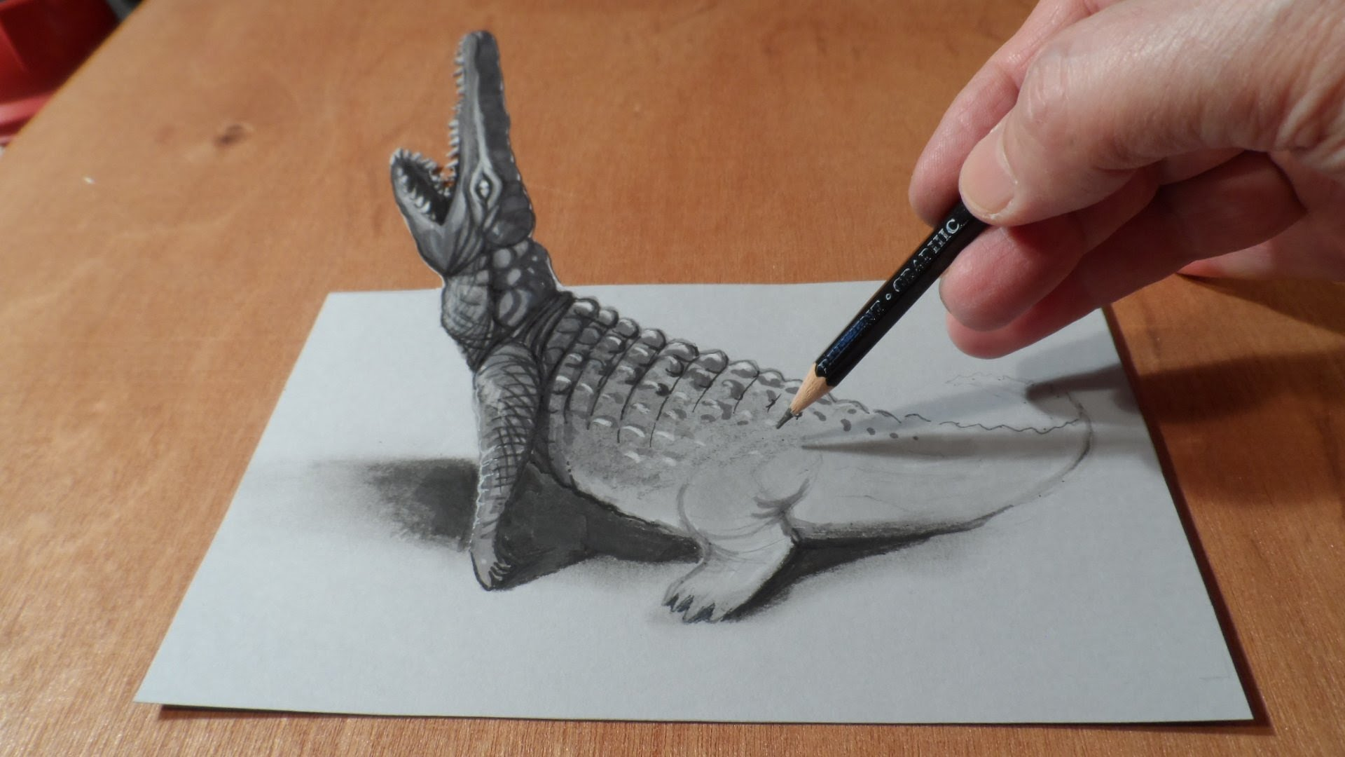 Optical Illusion Art Trick -How to Draw 3D Crocodile Painting?