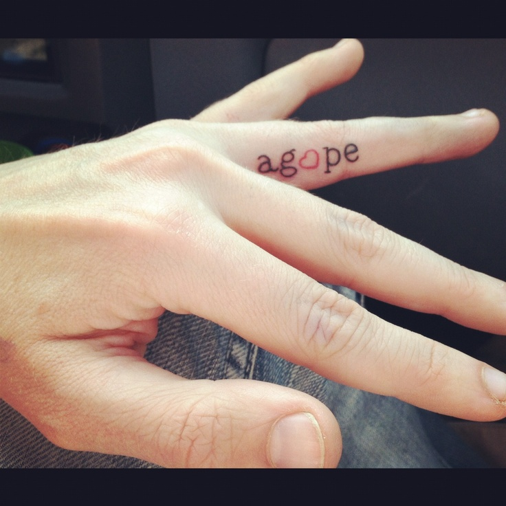 Agope Word Finger Tattoo For Men