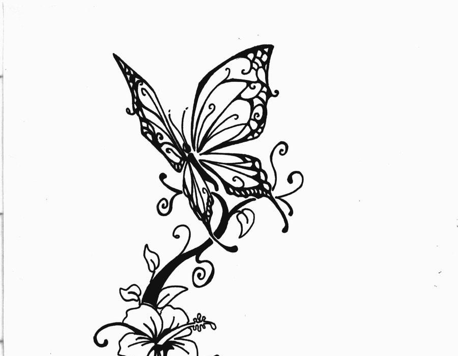 Butterfly and flower tattoo drawings