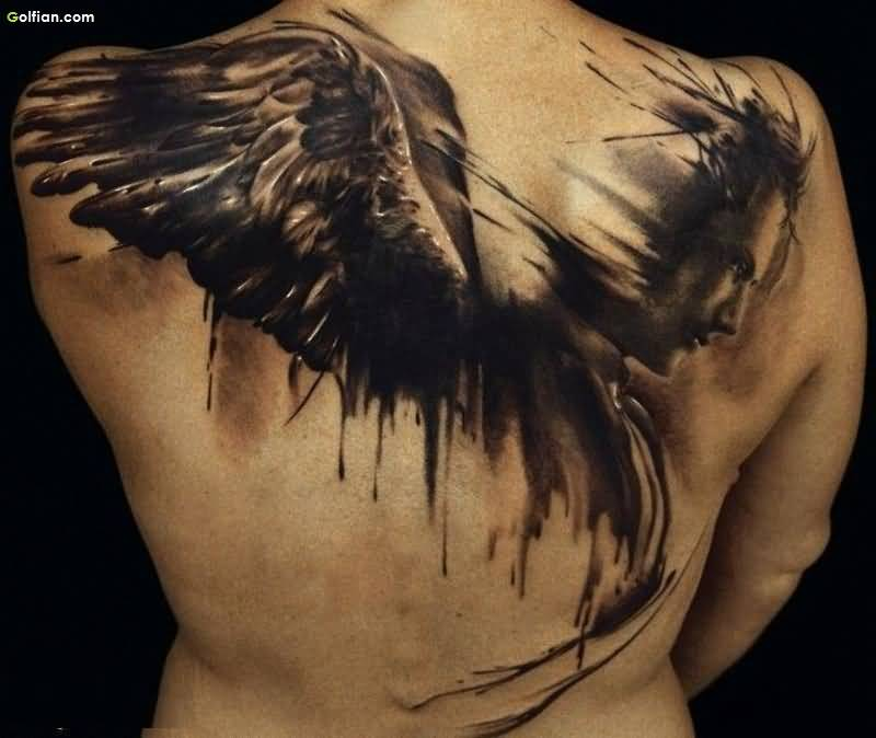 Мужское тату на спине крылья