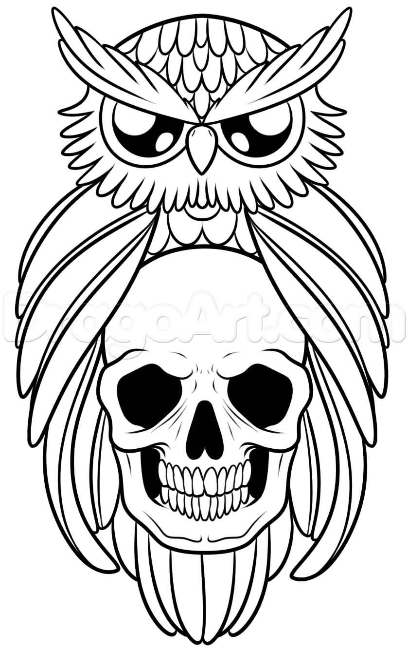 Cute owl tattoo outline