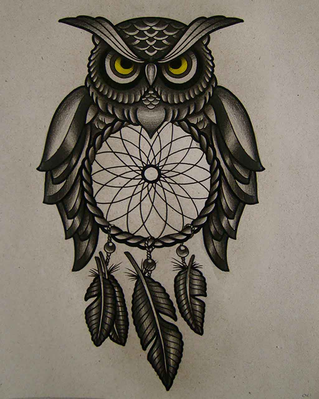 Simple owl face tattoo
