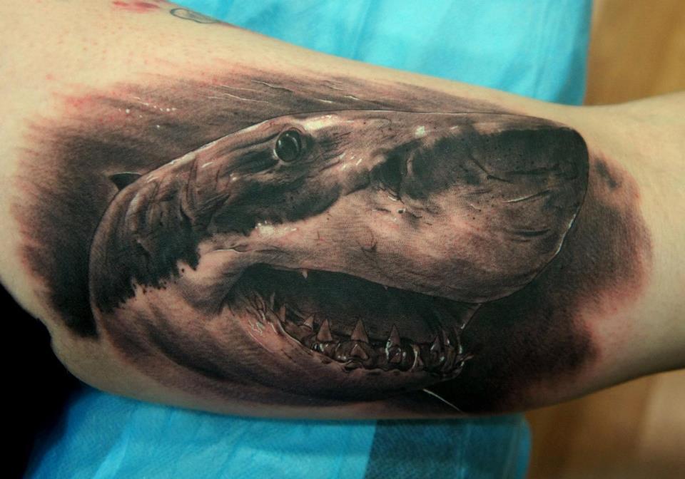 Shark mouth tattoo