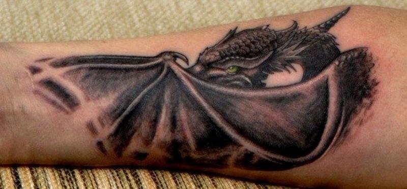 Эскиз тату дракон на предплечье