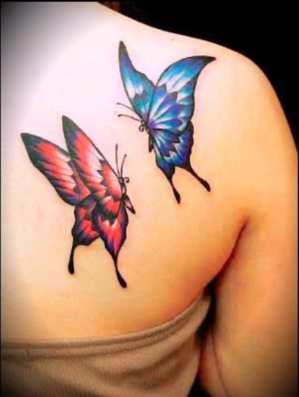 Фото тату бабочек на плече