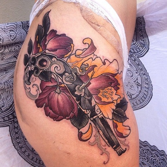 44 Awesome Hip Rose Tattoos: 58 Most Amazing Pistol Tattoos & Designs