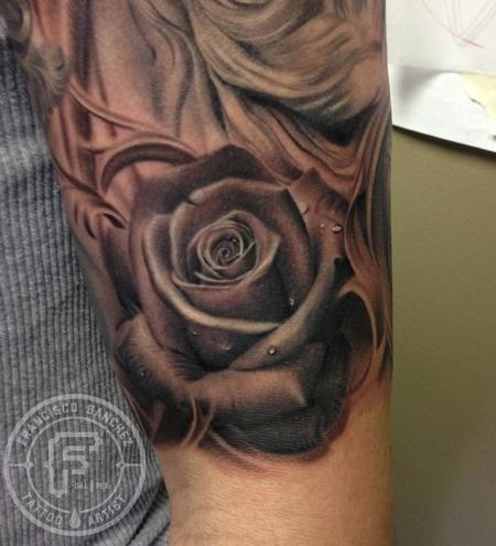 black and grey rose tattoo on arm by francisco sanchez. Black Bedroom Furniture Sets. Home Design Ideas