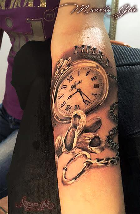 5427c985a Funny peanuts and pocket watch tattoo on girl's arm