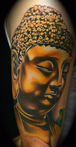 Golden Buddha Face Tattoo On Half Sleeve