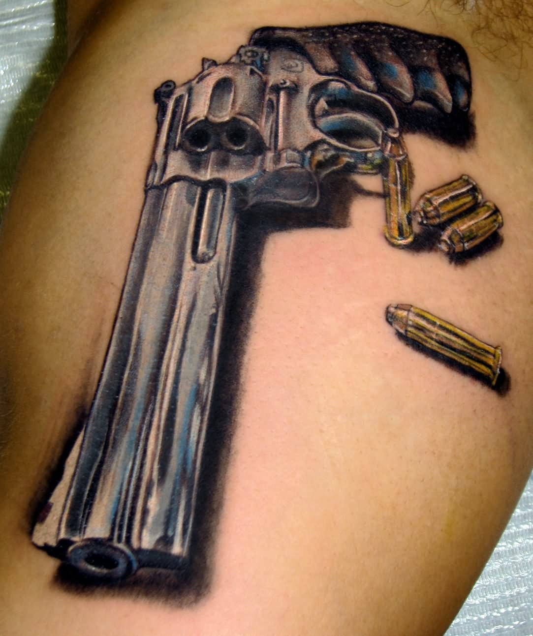 9784c6d6a Hand Pistol and Bullets Tattoo by Stefano Alcantara