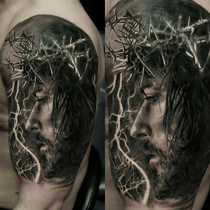Most Amazing Jesus Christ Wearing Crown Of Thorns Tattoo On Half Sleeve It has lord jesus on it and is worn by ones who holds the power of hope,belief and faith. most amazing jesus christ wearing crown