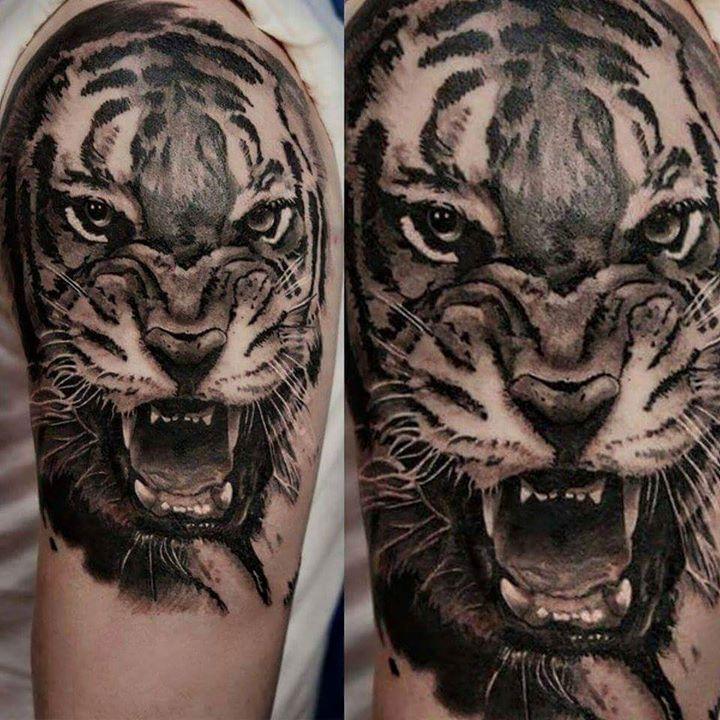 Roaring Tiger Tattoo On Half Sleeve by Kory Angarita