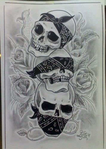See No Evil Hear Speak Evil Skull Designs