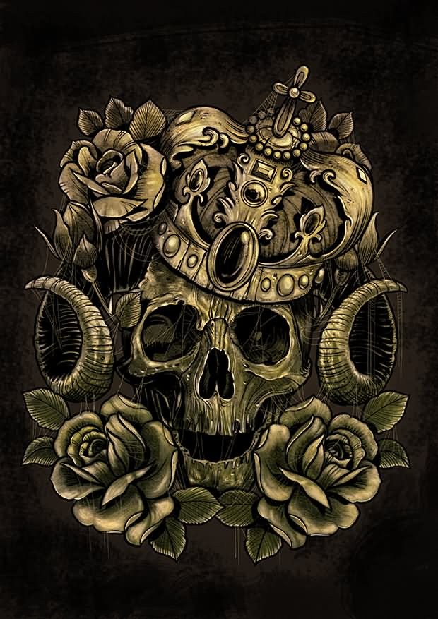 Skull in crown and roses tattoo design by andre77rodrigues