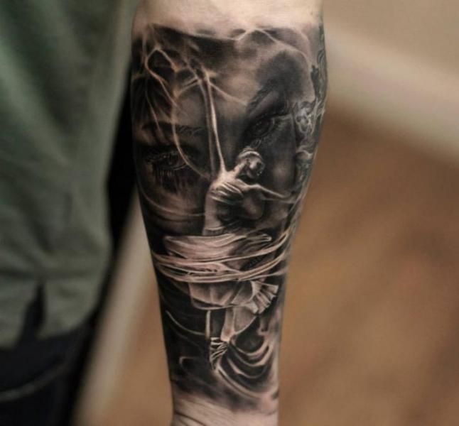 black ink dancer tattoo on arm by matthew james