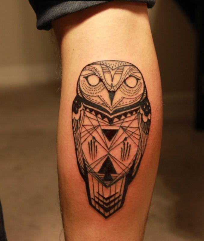 Black Ink Owl Tattoo on Calf