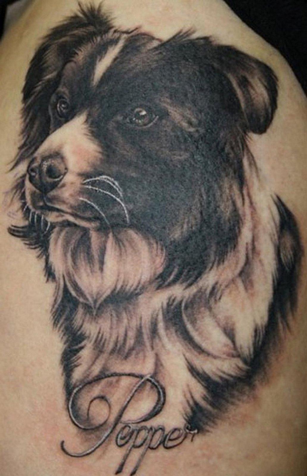 Black And Grey Dog Tattoo