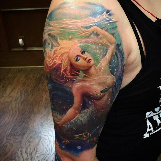 Colorful Mermaid Tattoo on Half Sleeve