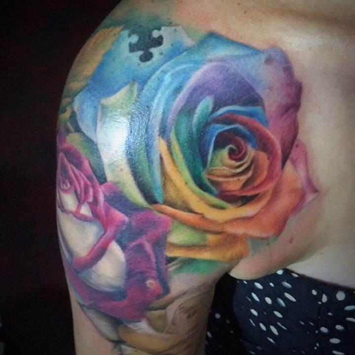 Colorful roses tattoo by Samm Lacey