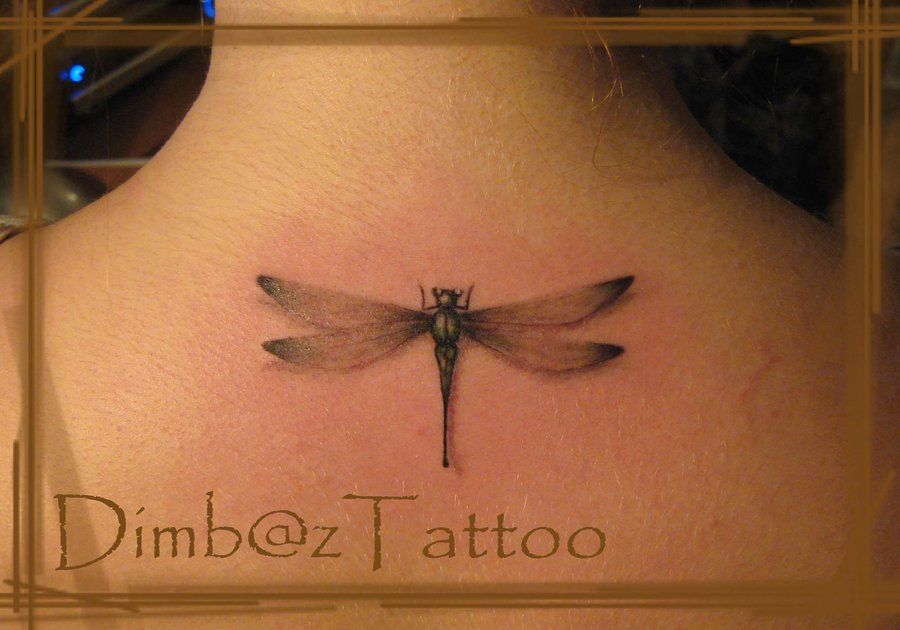 Dragonfly Tattoo On Upper Back By Dimbaz