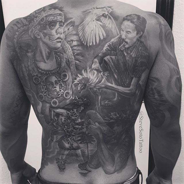 Full back tattoo by Steve Soto Tattoo Art Co.