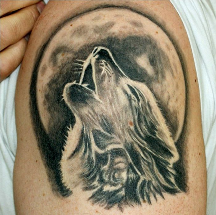 7f4bff07223cf Howling wolf with full moon tattoo on half sleeve