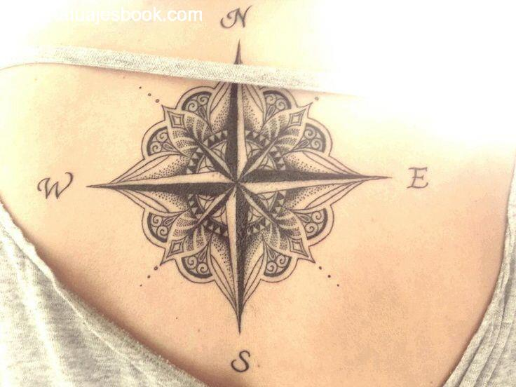 Incredible Compass Tattoo On Back