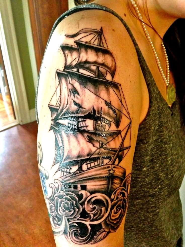 nice colored pirate ship tattoo on left half sleeve by cris gherman. Black Bedroom Furniture Sets. Home Design Ideas