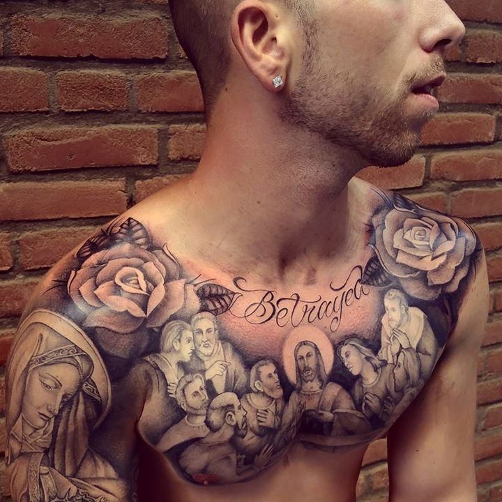 Realistic jesus christian tattoo on chest for Religious chest tattoos
